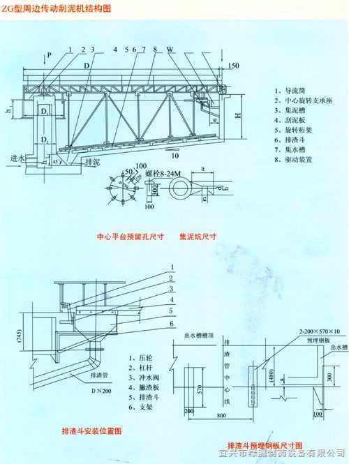 zg型周边传动刮泥机结构图